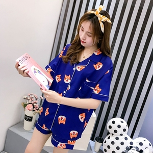 Image 2 - Bangtan Boys Pajama Set Summer Harajuku Printed Kawaii Pyjamas Kpop Anime Heart Tata Pijama Mujer Chimmy Cooky Sleeepwear