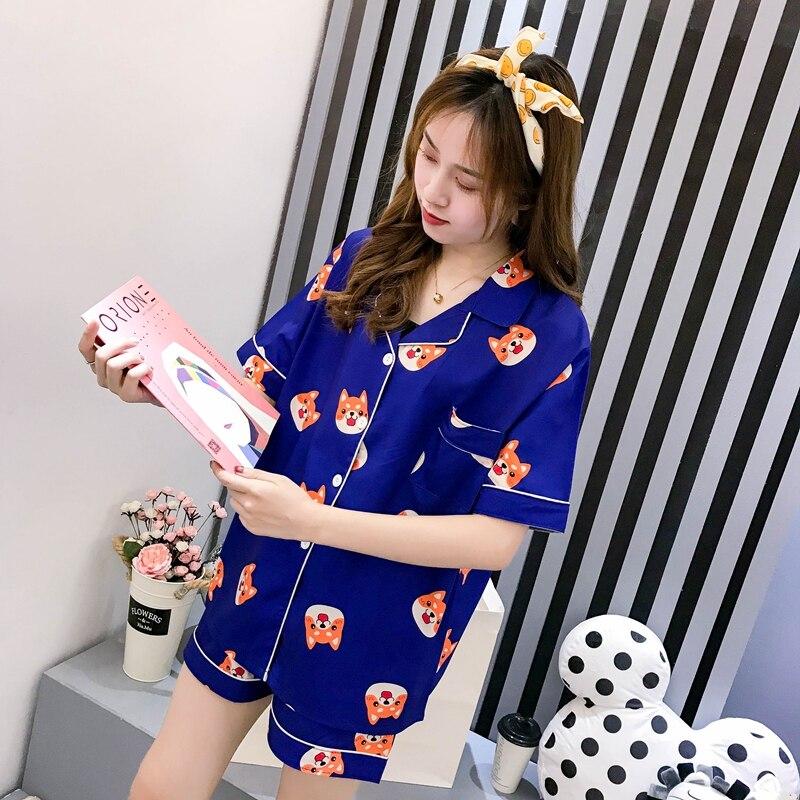 Women Pajama Set Summer Cartoon Harajuku Shiba Inu Printed Kawaii Pyjamas Korean Japanese Anime Dog Pijama Mujer Silk Sleeepwear