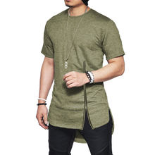 Men's Casual Short Sleeve Mid Zipper T Shirt Hip Hop Solid Streetwear Tee Shirt Side Slit T-shirt Lengthen Swag Funny Tee Tops(China)