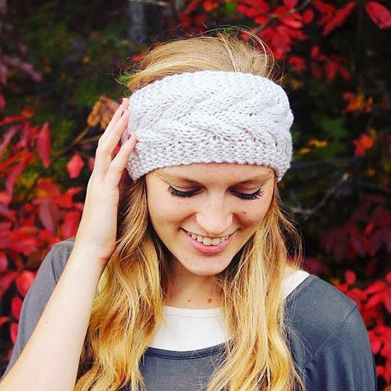 4e73ff7e157 ... Knitted Twist Warm Hat Ear Warmer Headwrap HairBand Winter Hats for Women  Fashion Ladies Beanie Hair ...