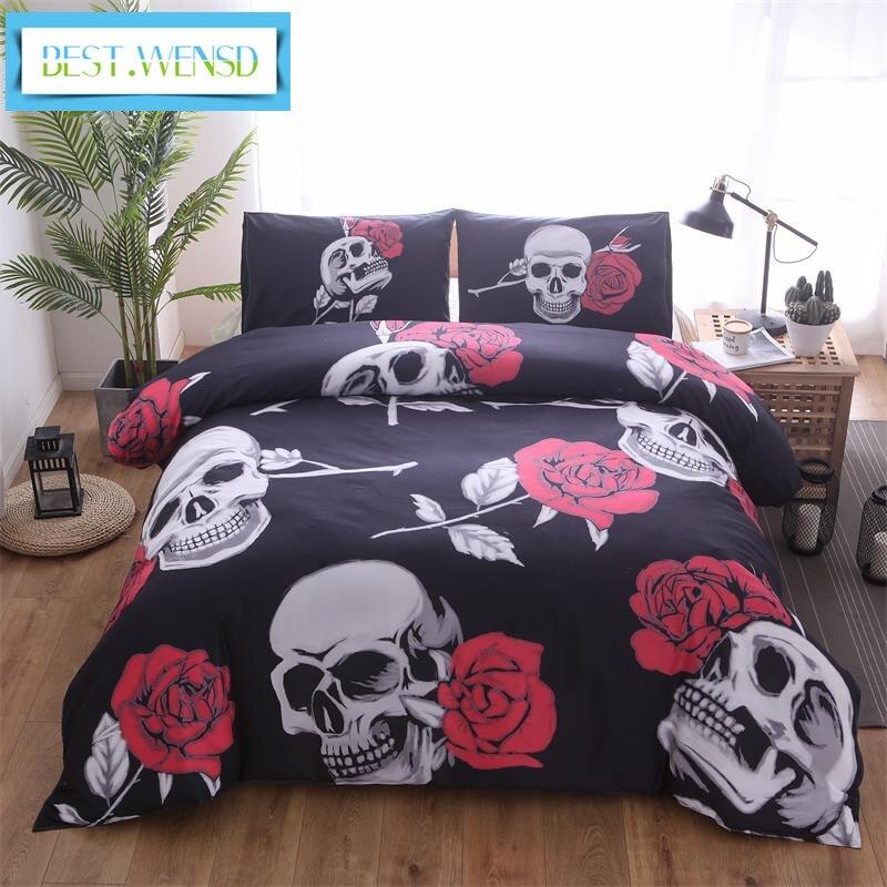 2/3 個スーパーサイズとトランペットジャカード寝具セット、冬 3d ローズスカル、含むソフト (布団カバー + 枕カバー) いいえベッドカバー  グループ上の ホーム&ガーデン からの 寝具セット の中 1