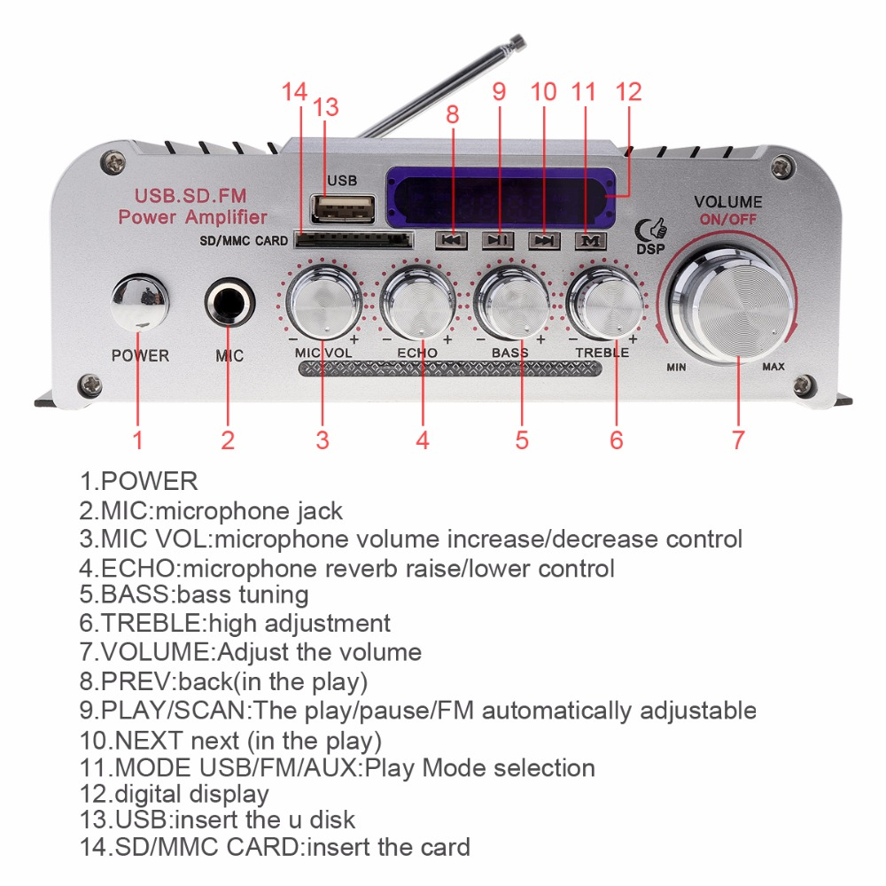 2CH HI FI Bluetooth Car Audio Power Amplifier Auto FM Radio Player