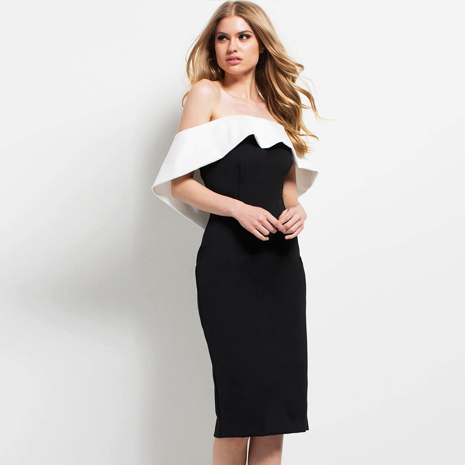 Adyce 2019 New Summer Bandage Dress Women Sexy Black Slash Neck Celebrity Party Dress Vestidos Elegant