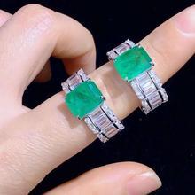 Qi Xuan_Green кольцо S925 посеребренное Белое золото аксессуары для женщин зеленый циркон прямоугольное кольцо элегантный темперамент