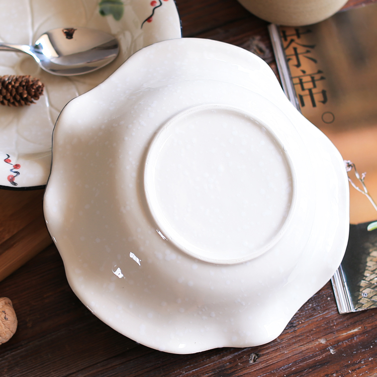 Irregular ceramic Japanese Style tableware creative soup bowls salad bowl home plate hand painted Snowflake Under glaze color -in Dishes u0026 Plates from Home ... & Irregular ceramic Japanese Style tableware creative soup bowls salad ...