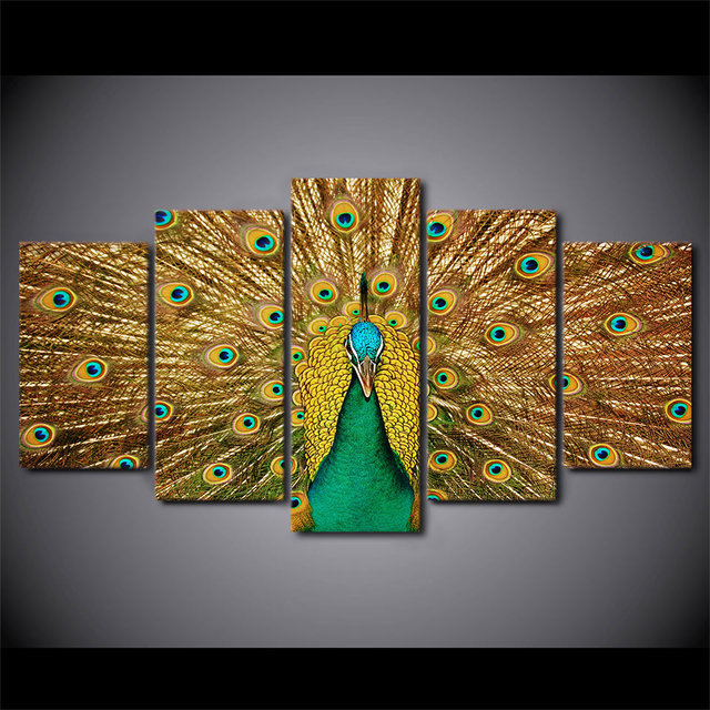 Wall Art Panels Adorable 5 Pieces Canvas Prints Animal Colorful Peacock Painting Wall Art Review