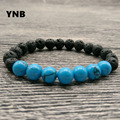 YNB 8mm Lava Stone and Turquoise Bracelets with Double Elasticity Cord, 2016 Fashion Lave Bracelet Men Jewelry, Christmas Gift