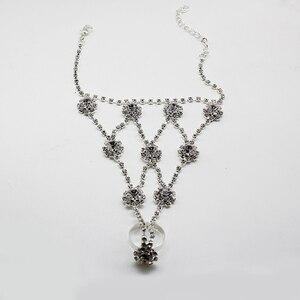 2020 pulsera de hermoso Diamante de imitación de moda brazalete entrelazado dedo conectado brazalete de cristal Handlets joyería regalo
