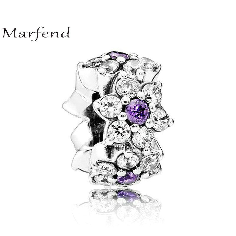 Marfend Fashion Silver 925 Don't Forget Me Flower Charm Purple CZ Spacer Charms Beads Fit Original Bracelet Women DIY Jewelry