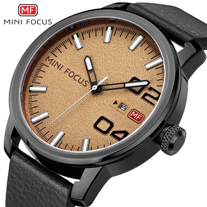 MINI FOCUS Militārās ādas biznesa kvarca pulkstenis vīriešiem - Vīriešu pulksteņi