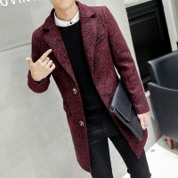 Fashion lapel collar slim fit solid color coat men winter thicken woollen coat men wool & blends men 3 colors size m 3xl NDY2