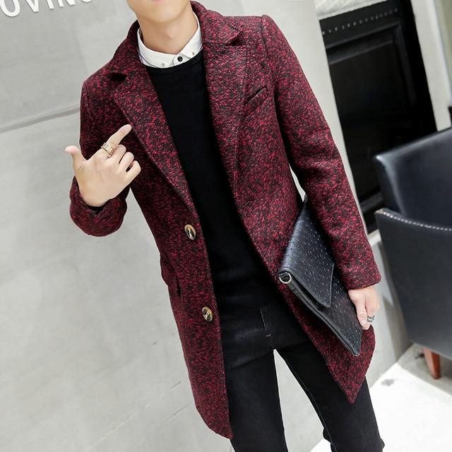 Модный воротник с лацканами slim fit сплошной Разноцветные пальто мужское зимние утепленные шерстяные пальто мужское шерсти и смеси мужское 3 цветов Размер M-3XL NDY2
