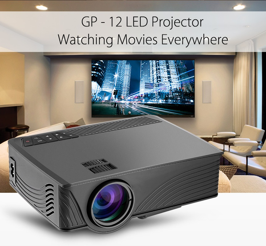 Coolux GP-12 GP12 LED LCD Projector 800x480 Pixels 2000 Lumens 3D Support 1080P for Home Theater Player Proyector