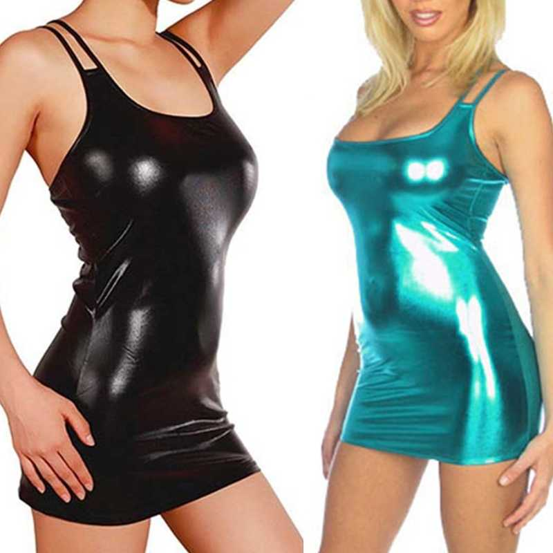 Vrouwen Sexy Wet Look Faux Leather Mouwloze Bandage Bodycon Pakket Club Jurk