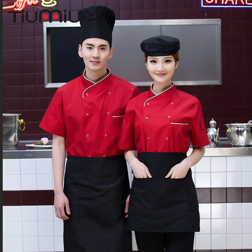 Unisex Short Sleeve Double Breasted Kitchen Restaurant Food Service Work Uniform Hotel Waiter Coffee Shop Chef Tops Jacket Apron