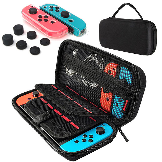 Grote Opslag EVA Hard Shell Case Voor Nintend Switch Console Draagbare Draagtas Soft TPU Case Silicon Duim Sticks Grip caps