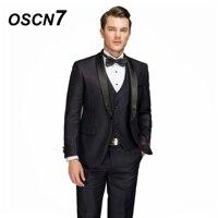 OSCN7 Custom Purple Shawl Lapels Wool Tailor Made Suits 3PCS Men Suit 2018 wedding Slim Fit customized suit men 2668 3