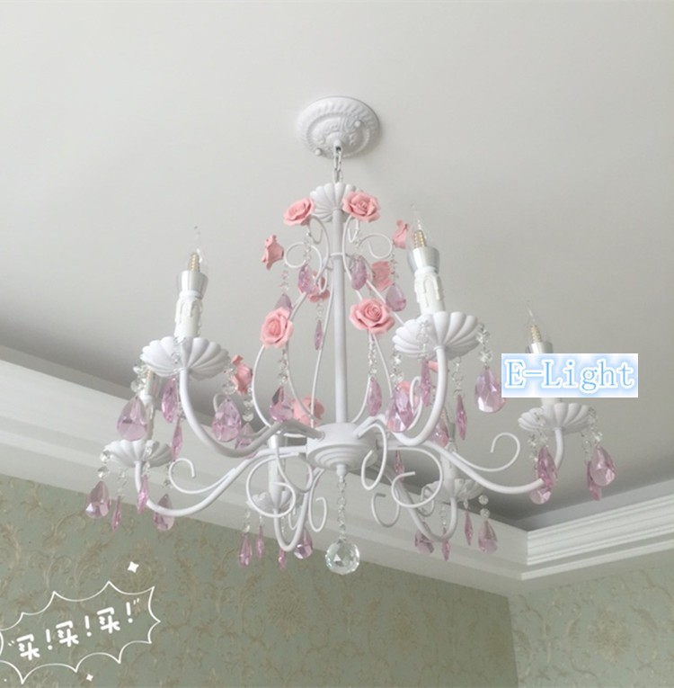 5 8 Lamps Wrought Iron Rose Chandeliers Lights Crystal Lamp White Pink Green Flower K9 E14 Led Candle Bulb Chandelier In From