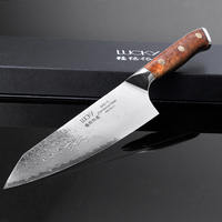 21,24 см дамасский нож шеф повара Япония SKD 11 (SLD) кухонные ножи ручной работы кованый кухонный нож с красной mallee натуральное дерево Ручка 25