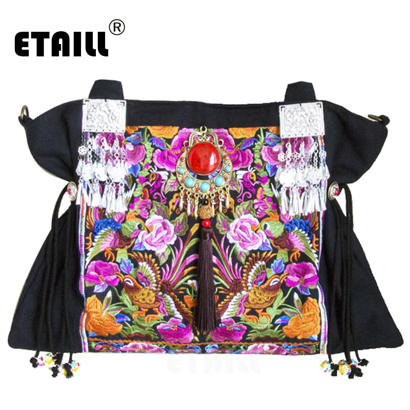 ETAILL National Original Floral Embroidery Famous Brand Shoulder Crossbody Bag Chinese Hmong Ethnic Embroidered Messenger Bag plus size floral embroidered drop shoulder sweater