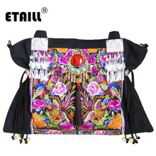 ETAILL National Original Floral Embroidery Famous Brand Shoulder Crossbody Bag Chinese Hmong Ethnic Embroidered Messenger Bag etaill chinese embroidery single messenger bag women s fashion leisure crossbody bag canvas ethnic boho embroidered women bag