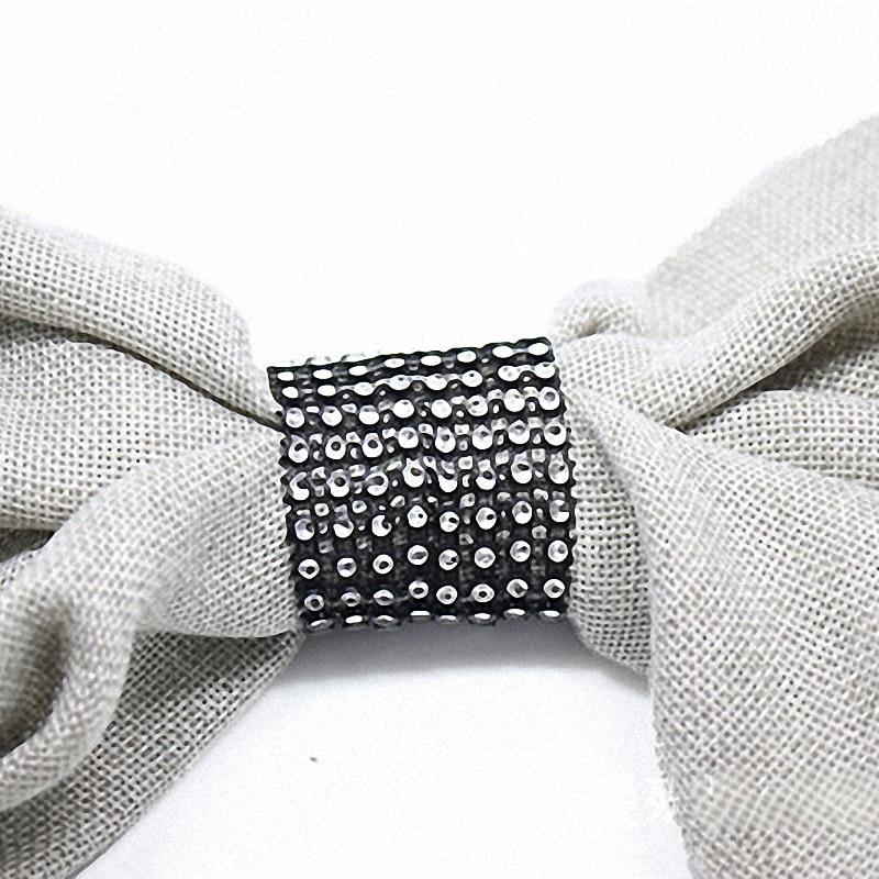 50pcs Handmade Wedding Decorations Bling Black Napkin Rings Bow