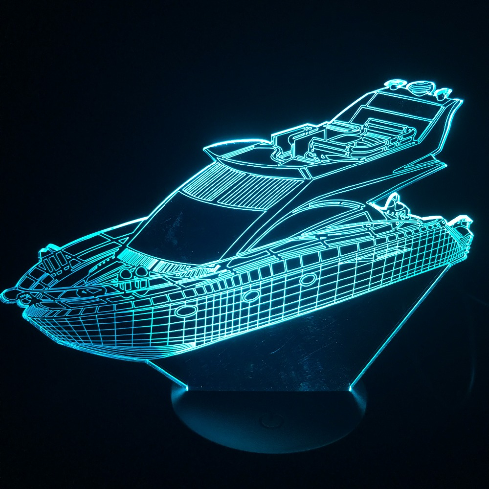 Yacht Boat 3D LED Table Lamp 7 Color Visual Atmosphere Night Light For Kids Gifts USB Lampara Baby Sleep Lighting Luminaria