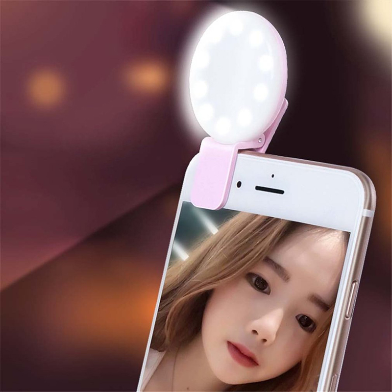 Q version universal type Mobile Phone External Self-timer Lamp LED Makeup Beauty Fill Light USB charging Third gear adjustment