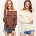 DW Spring Autumn Lady's Casual Long Sleeve Solid Color Cotton Knitted Large T Shirt Trendy Sexy Slash Neck T-shirt Women Clothes