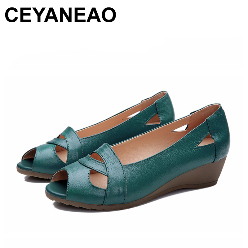 CEYANEAO2018 Summer Women Shoes Woman Genuine Leather Platform Soft Sandals Open Toe Mother Wedges Casual Sandals Plus size 32 43 big size summer woman platform sandals fashion women soft leather casual silver gold gladiator wedges women shoes h19
