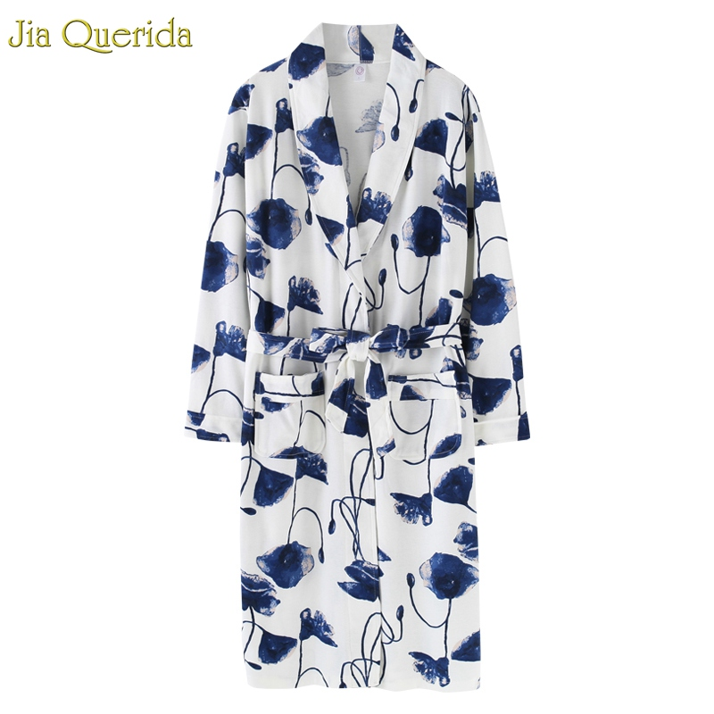 J&Q New Arrival Ladies Pyjamas Plus Size Bathrobe Leisure Home Wear Cotton  Robe Vestido Pajamas Chinese Floral Women Bathrobes