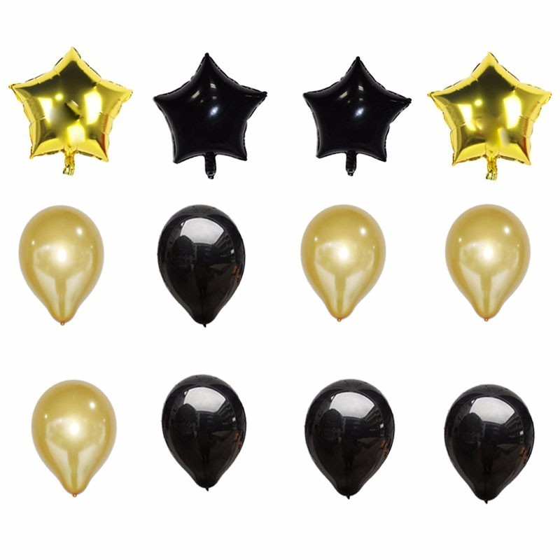 13pcs 18inch Five-star And Wine Glass Foil Balloons Gold And Black Wedding Decorations Globos Birthday Party Decorations Adult