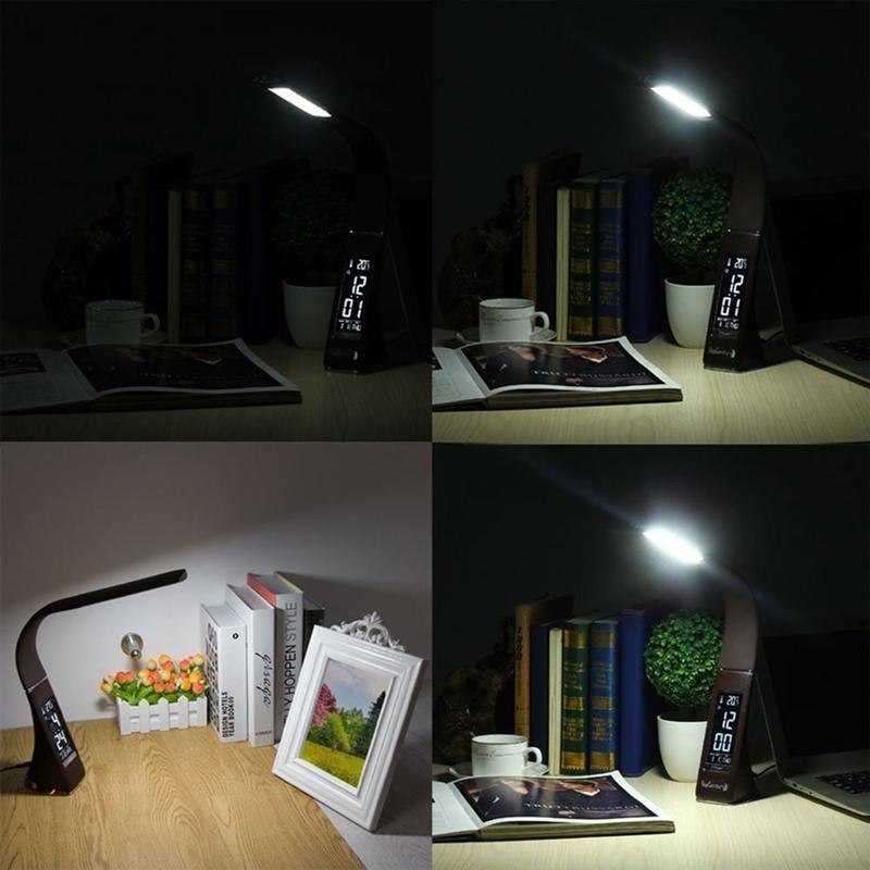 LUOEM светодиодный настольная лампа глаз-забота Регулируемая Гибкая настольные лампы затемнения офисные лампа настольная лампа Touch Управлен...