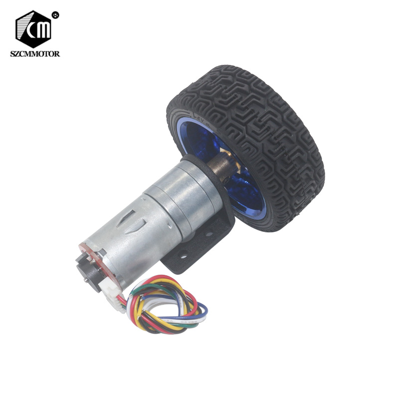 Hall signal <font><b>DC</b></font> <font><b>6V</b></font> 12V 24V 12-1360 RPM Miniature <font><b>Gear</b></font> <font><b>Motor</b></font> with encoder coupling 65mm wheel Smart Car Kit For Robot DIY image