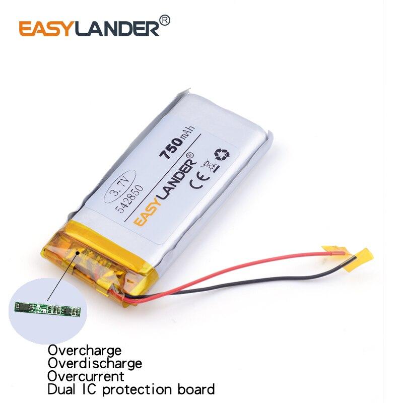 3pcs /Lot 750mAH 542850 3.7v lithium Li ion polymer rechargeable battery PLIB for dvr,GPS,mp3,mp4,cell phone, tablet batte