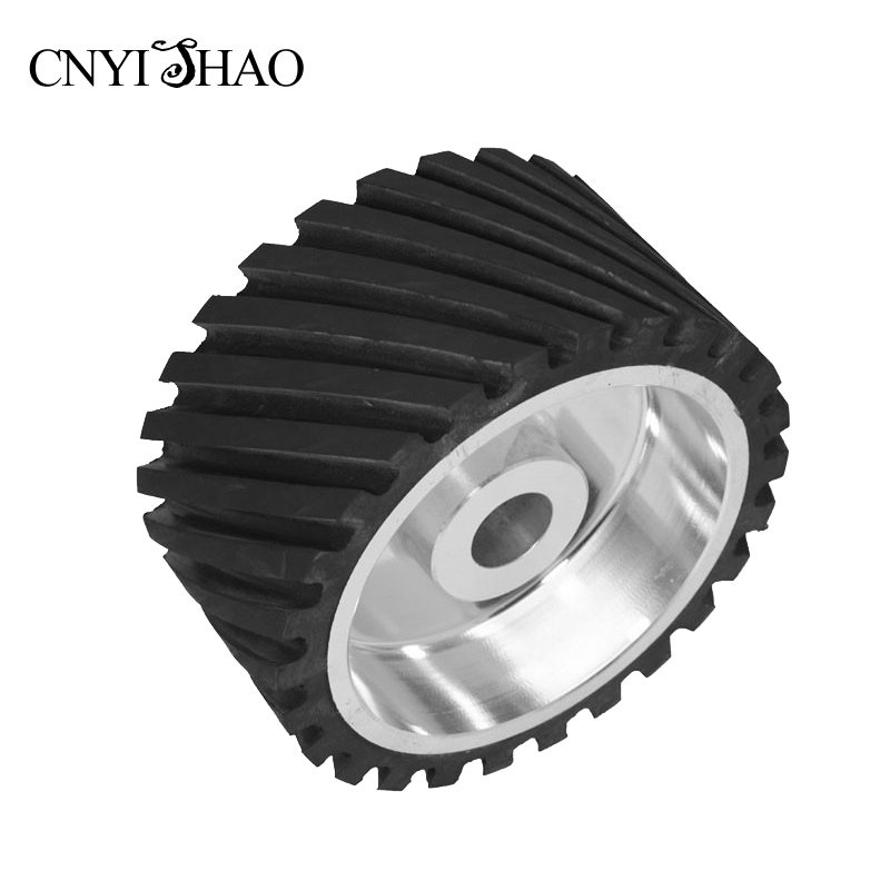 CNYISHAO Customized 200*100*25mm Serrated Polishing Wheel Sanding Belt Set Rubber Contact Wheel for Bench Grinder 150 25mm flat rubber contact wheel belt grinder parts sanding belt set