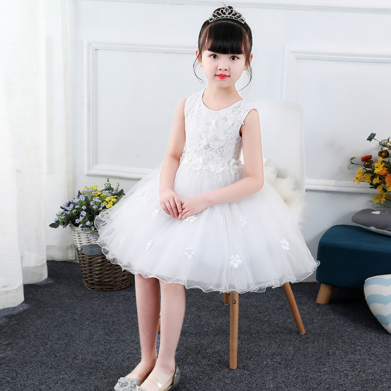 Baby Girl Evening Dresses Princess Dress Girls Costume Girl Ceremonies Party Vestidos White and pink color Tulle Clothes Sundres