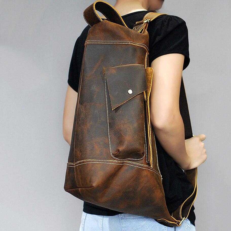 Vintage Crazy Horse véritable sac en cuir hommes sac à main bolsas Sling poitrine sac pour hommes bandoulière casual messenge Jour de la poitrine pack sac