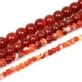 Contas Redondas de Ágata vermelha Carnelian Selecionável 4 6 8 10mm Contas de Pedra Naturais Para Fazer Jóias Diy Pulseira Colar