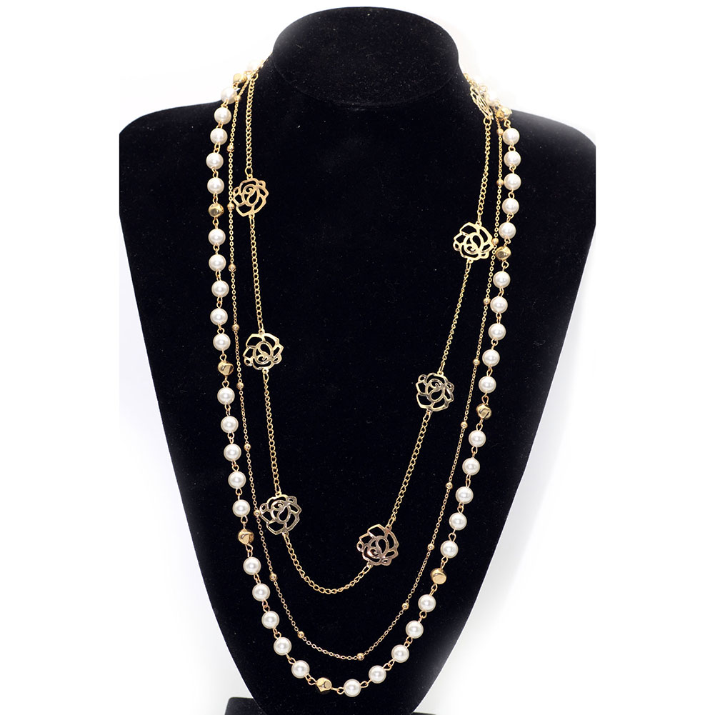 Women Rhinestone Multi Layer Long Necklace Imitation Pearls Sweater Chain Necklaces