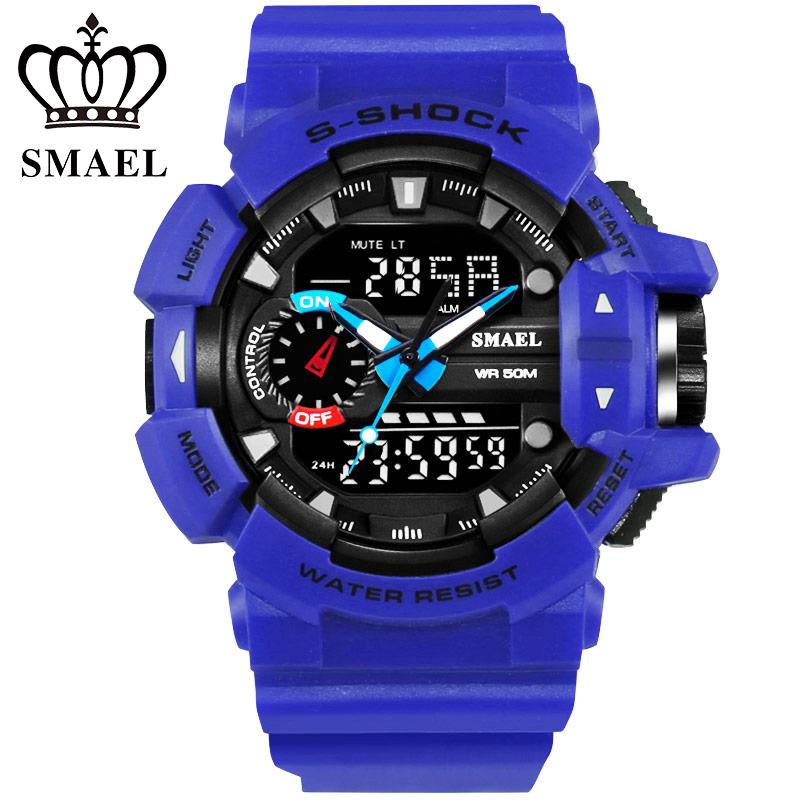 Prix pour Mode S Choc Montres Hommes LED Numérique Montre À Quartz Heure Date Homme Horloge Hommes de Montre-Bracelet 50 m Étanche Marque montres WS1436