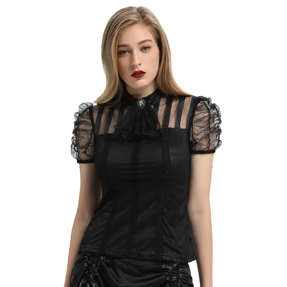 Gothic Victorian Steampunk LACE UP Shirt Women Puff Sleeve Sheer Mesh Top Blouse gothic vintage elegant party tops ladies shirts