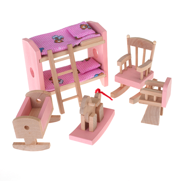New Arrivals Dollhouse Minature Funiture Wooden Toy Kids Room Set Doll House Decoration Dolls Accessory Girls Gift Furniture Toy
