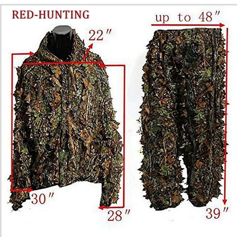 Men's Sportswear Hunting CS Game ClothingHunting Ghillie Suit 3D Camo Bionic Leaf Camouflage <font><b>Jungle</b></font> Woodland Birdwatching Poncho image