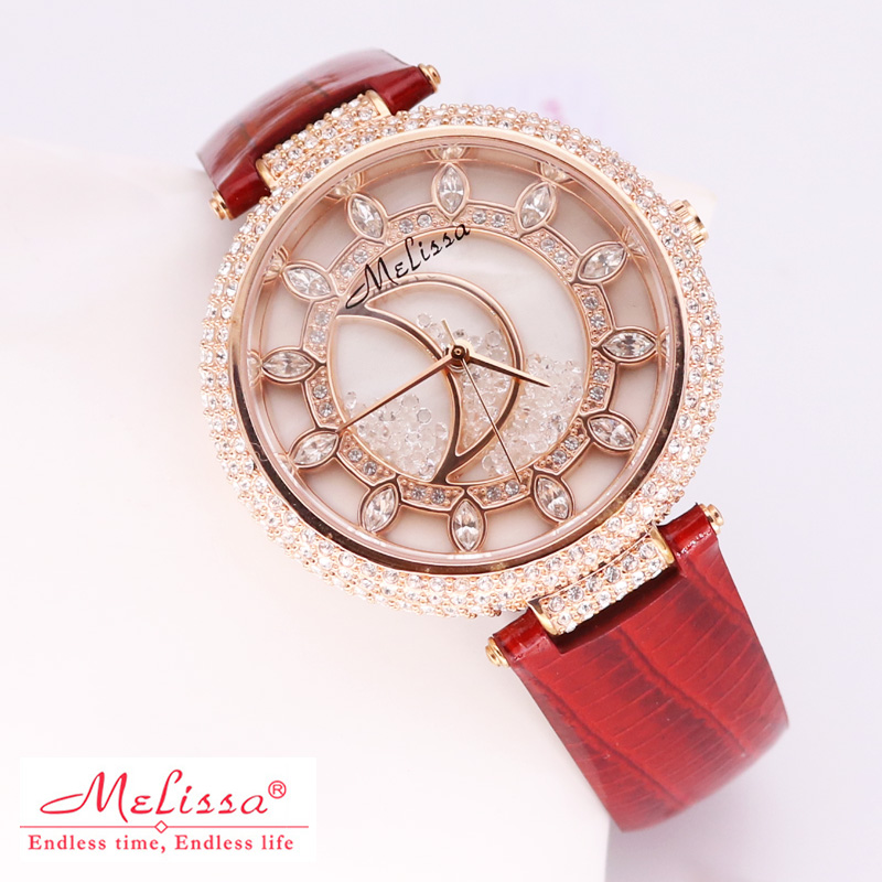 Melissa Lady Women's Watch Big Hours Japan Quartz Fashion Dress Leather Clock Luxury Crystal Hollow Sun Moon Girl's Gift Box melissa lady women s watch big hours japan quartz fashion dress leather clock luxury crystal hollow sun moon girl s gift box