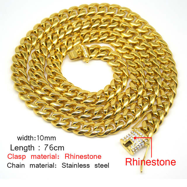 Online Shop UWIN 10mm Men Cuban Miami Link Necklace Stainless steel  Rhinestone Clasp Iced Out Gold Silver Hip hop Chain Necklace 76cm  70cd4855a121