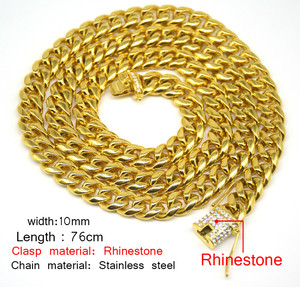 Image 2 - UWIN 10mm Men Cuban Miami Link Necklace Stainless steel Rhinestone Clasp Iced Out Gold silver color Hip hop Chain Necklace 76cm