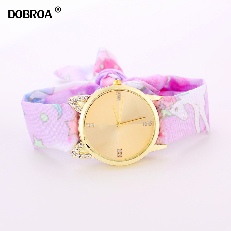 Methodical Dobroa Zegarek Damski Unicorn Cloth With 4 Points Double Drill Cat Ears With Diamond Fabric Ladies Watch Long Sweet Girl Watches Watches
