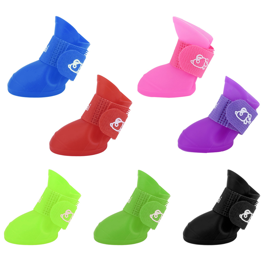 Hoopet 7 Colors Creative Design Pet Dogs Lovely Comfortable Waterproof PVC Boots Fashionable Type Soft Rain Shoes For Small Dogs