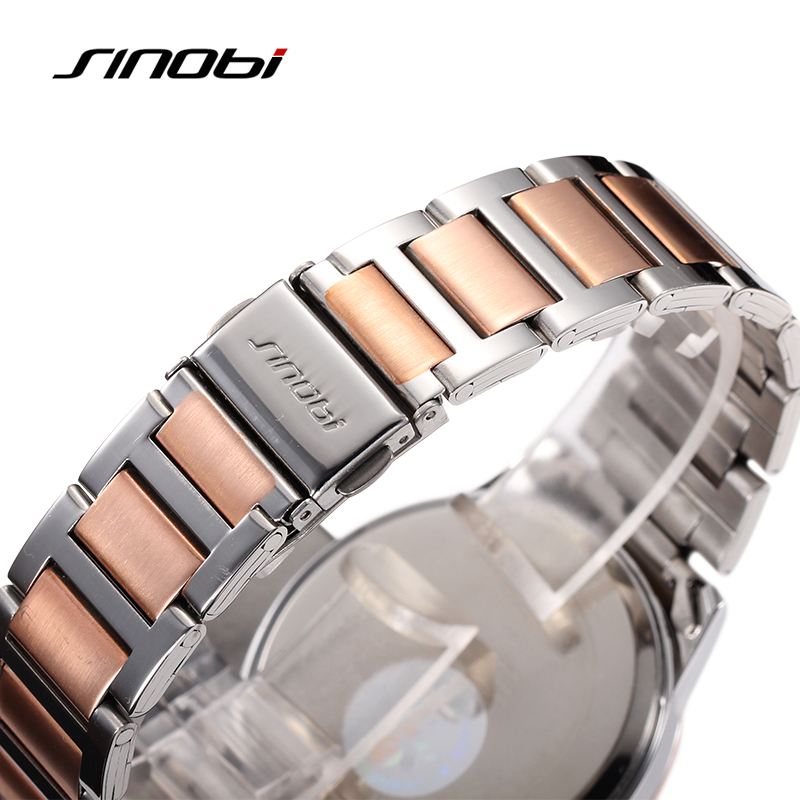 SINOBI Luxury Women Watches Quartz Watch Woman Rose Gold Business